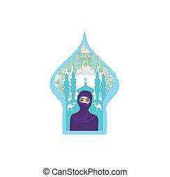 femme, silhouette., arabe, portrait, hijab, désert