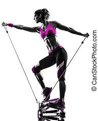 femme, silhouette, bandes, stepper, résistance, fitness, exercices