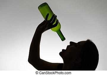 femme, silhouette, bouteille, alcoolique