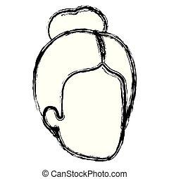 femme, silhouette, brouillé, chignon cheveux, anonyme