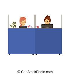 femme, silhouette, bureau, couleur, box, jeune, personnes agées, lieu travail, dame, employés