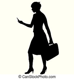 femme, silhouette, business