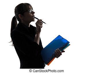 femme, silhouette, business, pensée, haut, regarder