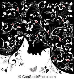 femme, silhouette, coiffure, figure, conception, floral, ton