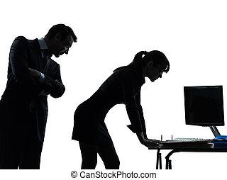 femme, silhouette, couples affaires, harcèlement, sexuel, homme