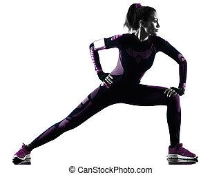 femme, silhouette, coureur, isolé, courant, joggeur, jogging...