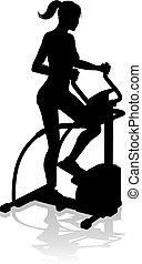 femme, silhouette, crise, gymnase, croix, machine, elliptique