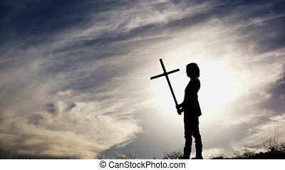 femme, silhouette, croix