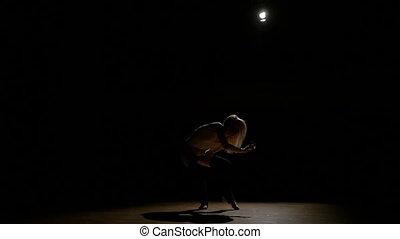 femme, silhouette, danse, sombre, séduisant, sexy