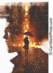 femme,  silhouette,  double, figure, homme, exposition