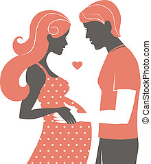femme, silhouette, elle, pregnant, couple., mari