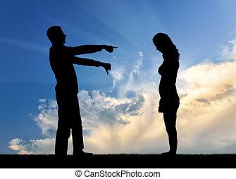 femme, silhouette, elle, projection, perdant, elle, dire, homme, doigt