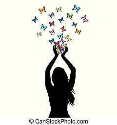 femme, silhouette, elle, résumé, voler, illustration, papillons, mains