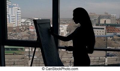 femme, silhouette, expert, bureau., whiteboard, moderne, écriture, directeur, chef, papier, femme affaires
