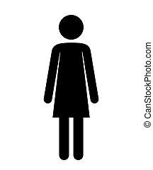femme, silhouette, figure, humain