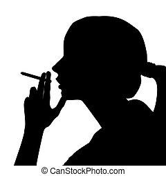 femme, silhouette, fumée