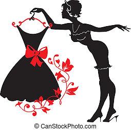 femme, silhouette, haut, épingle