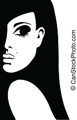 femme, silhouette, illustration, fond, vecteur, blanc