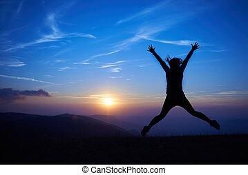 femme, silhouette, jeune, sauter