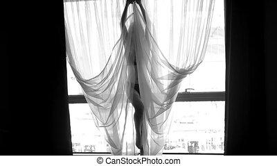 femme, silhouette, joli