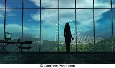 femme, silhouette, média, internet, thèmes, infographics, social
