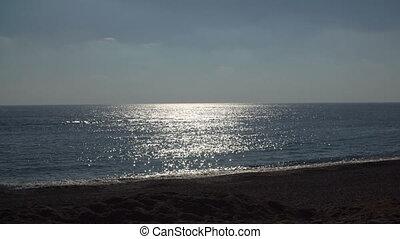 femme, silhouette, mer, jeune, fond, promenades, plage