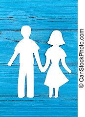 femme, silhouette, papier, tenant mains, homme