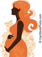 femme, silhouette, pregnant
