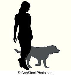 femme, silhouette, promenade chien