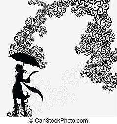 femme, silhouette, résumé, sous, tourbillon, parapluie
