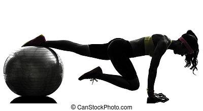 femme, silhouette, séance entraînement, exercisme, fitness, position, planche