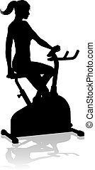 femme, silhouette, stationnaire, vélo gymnase, filer, exercice