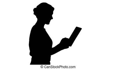 femme, silhouette, tablette, marche., numérique, utilisation, habillement, désinvolte