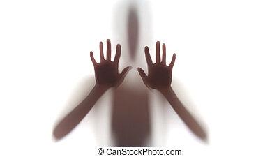 femme, silhouette, terrifiant