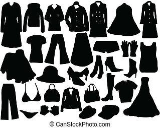 femme, silhouette, vêtements
