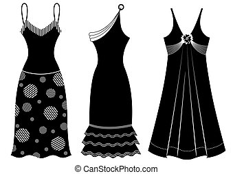 femme, silhouette, vecteur, noir, white., robes