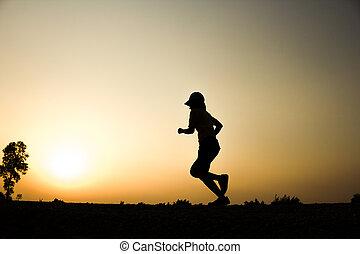 femme, silhouette, wellness, séance entraînement, jogging, fitness, concept., levers de soleil