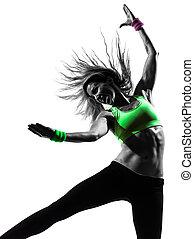 femme, silhouette, zumba, danse, exercisme, fitness