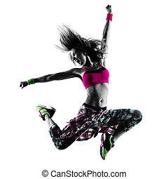 femme, silhouette, zumba, danse, isolé, danseur, fitness, exercices