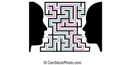 femme, silhouettes, puzzle, face homme, labyrinthe