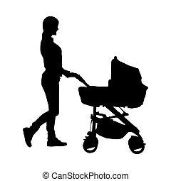 femme, simple, modèle, jeune, poussette bébé