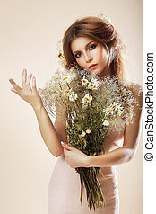 femme, simplicity., bouquet, élégant, studio, gracieux, poser, fleurs