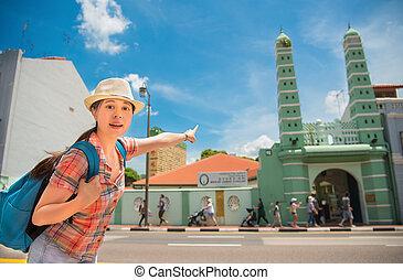 femme, singapour, voyage, asie, jamae, heureux