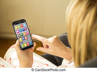 femme, smartphone, technologie