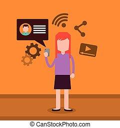 femme, smartphone, texting, dessin animé, elle