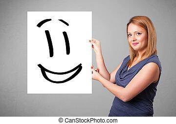 femme, smiley, jeune, figure, tenue, dessin
