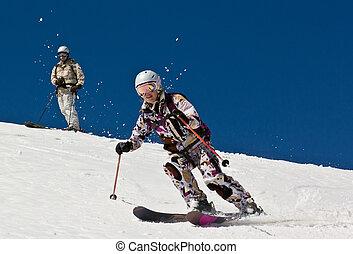 femme, snow., doux, skieur