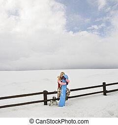 femme, snowboard.
