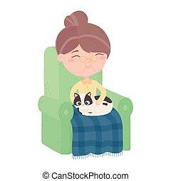 femme, sofa, chat, vieux, séance, chats, heureux, couverture, faire, me