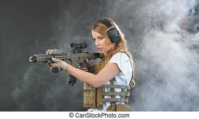 femme, soldat, mouvement, déguisement, lent, fusil, tireur...